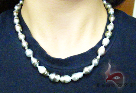 Multi-color Baroque Pearl Ladies Necklace 27356 Diamond