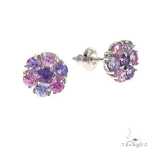 Mystic Purple Sapphire Flower Earrings 67046 Multicolor SAPPHIRE