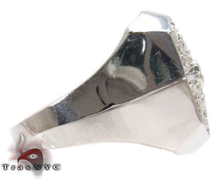Octagon Silver Diamond Ring Metal