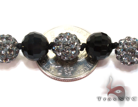 Onyx with CZ Chain 32 Inches, 10mm, 73.7 Grams Silver