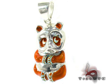 Orange Enamel Panda Pendant Metal