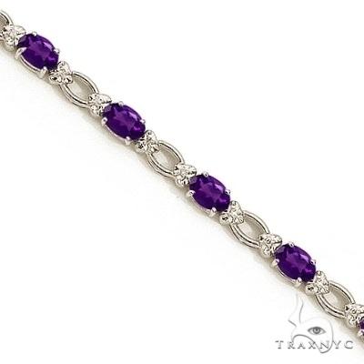 Oval Amethyst and Diamond Link Bracelet 14k White Gold Gemstone & Pearl