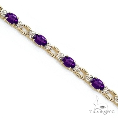 Oval Amethyst and Diamond Link Bracelet 14k Yellow Gold Gemstone & Pearl