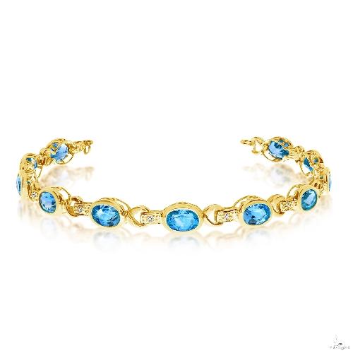 Oval Blue Topaz and Diamond Link Bracelet 14k Yellow Gold Gemstone & Pearl