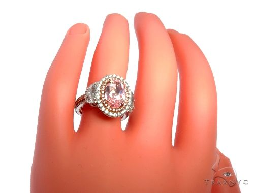 Oval Cut Fancy Pink Diamond Halo Engagement Ring 64567 Engagement