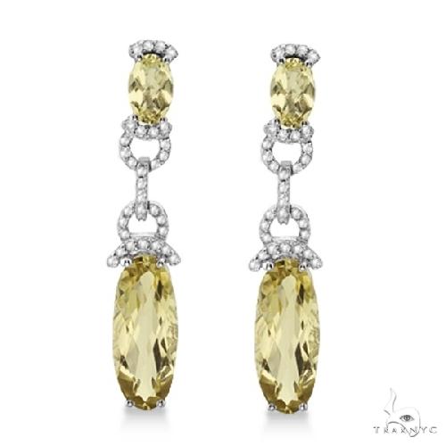Oval Lemon Quartz and Diamond Dangle Earrings 14k White Gold Stone