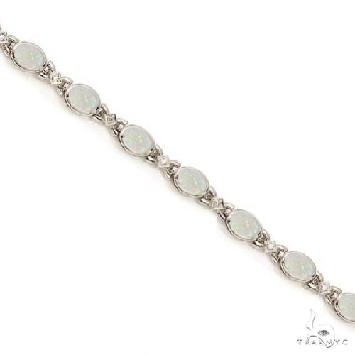 Oval Opal and Diamond Bezel Bracelet in 14K White Gold Gemstone & Pearl