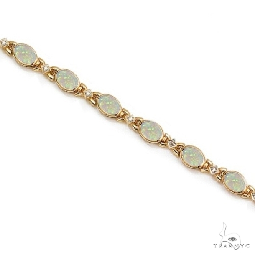 Oval Opal and Diamond Bezel Bracelet in 14K Yellow Gold Gemstone & Pearl