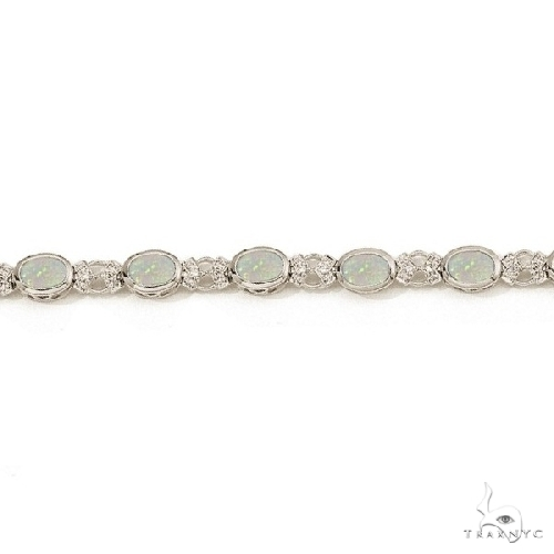 Oval Opal and Diamond Bezel-Set Bracelet in 14K White Gold Gemstone & Pearl