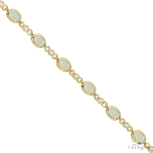 Oval Opal and Diamond Bracelet in 14K Yellow Gold (7x5mm) Gemstone & Pearl