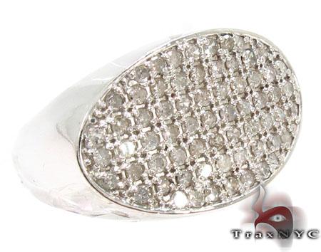 Oval Silver Diamond Ring 28061 Metal