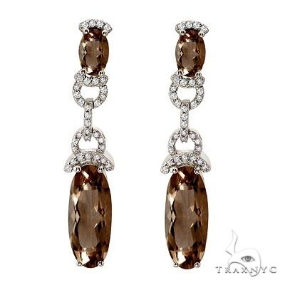 Oval Smoky Topaz and Diamond Dangle Earrings 14k White Gold Stone
