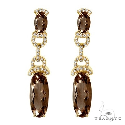 Oval Smoky Topaz and Diamond Dangle Earrings 14k Yellow Gold Stone