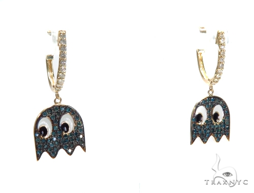 Pacman Ghost Diamond Earrings 42777 Stone
