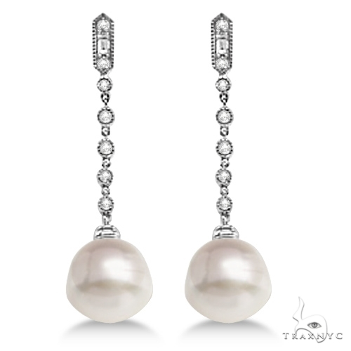 Paspaley Cultured South Sea Pearl and Diamond Earrings 14K W. Gold (11mm) Stone