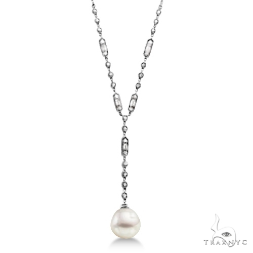 Paspaley Cultured South Sea Pearl and Diamond Necklace 14K W. Gold (11mm) Stone