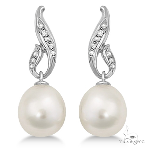 Paspaley South Sea Cultured Pearl and Diamond Drop Earrings (12mm) Stone