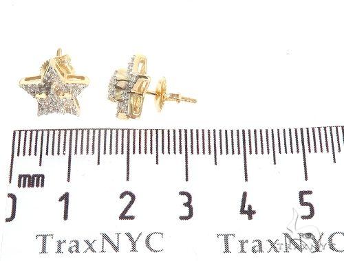 10K Yellow Gold Star Diamond Earrings Stone