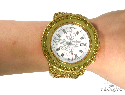 Pave Breitling Super Avenger Fully Diamond Watch 45342 Breitling