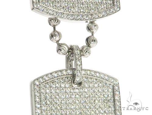 Pave Diamond Double Dog Tag Pendants Moon Cut Chain Set 63994 Metal