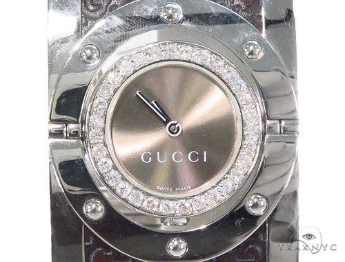 Pave Diamond Gucci 112 Twirl Bangle Ladies Watch YA112433 44147 Gucci