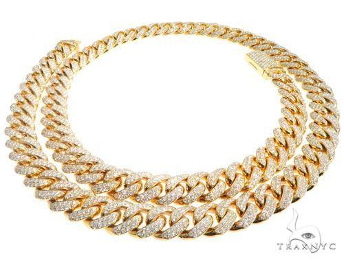 Pave Diamond Miami Cuban Link Chain 24 Inches 10mm 181.7 Grams 64099 Diamond