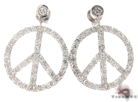 Peace Sign Earrings 21187 Stone