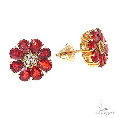 Pear Shape Red Sapphire Earrings 67040 Multicolor SAPPHIRE