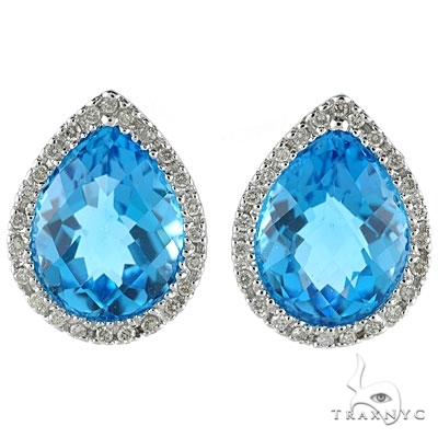 Pear Shaped Blue Topaz and Diamond Earrings in 14k White Gold Stone