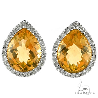 Pear Shaped Citrine and Diamond Earrings in 14k White Gold Stone