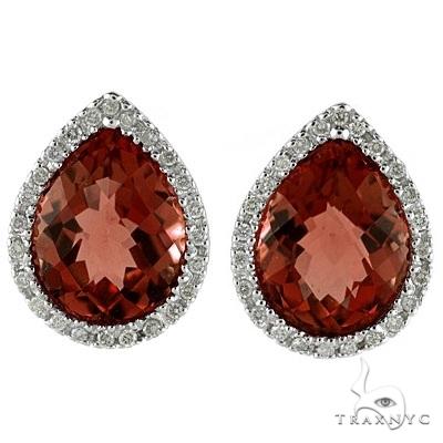 Pear Shaped Garnet and Diamond Earrings in 14k White Gold Stone