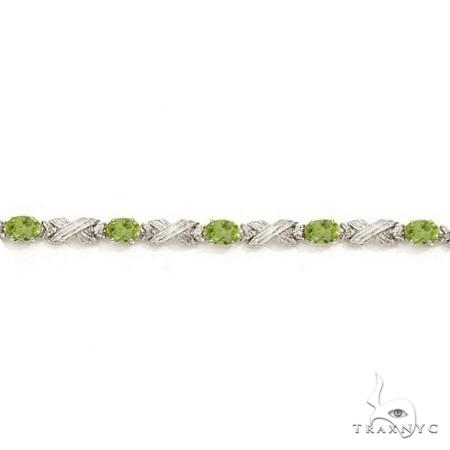 Peridot and Diamond XOXO Link Bracelet in 14k White Gold Gemstone & Pearl
