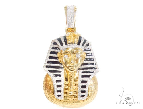 Solid 14K Yellow Gold Prong Bezel Diamond Pharaoh King Tut Pendant Metal