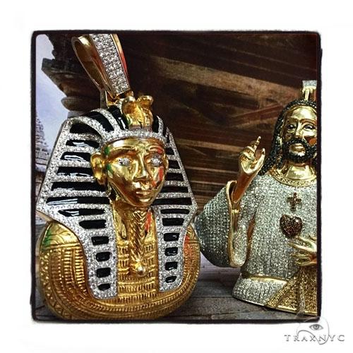 Solid 14K Yellow Gold Prong Bezel Diamond Pharaoh King Tut Pendant 43823 Metal