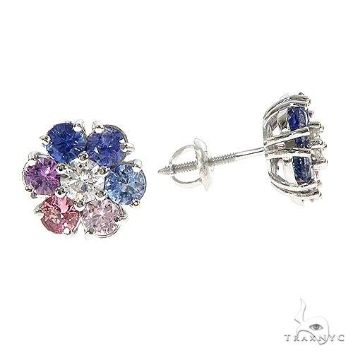 Large Pink&Blue Sapphire Diamond Flower Earrings 66859 Style
