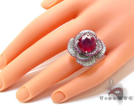 Pink Color Ruby Rose Diamond Ring Anniversary/Fashion