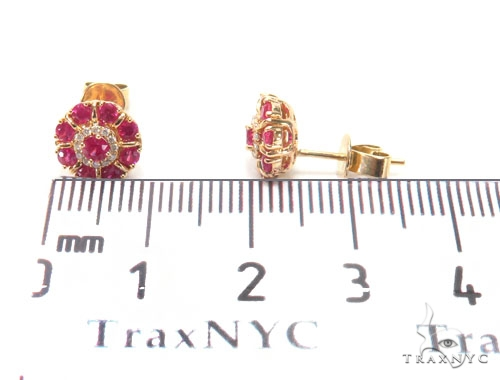 Pink Ruby Diamond Earrings 44697 Stone