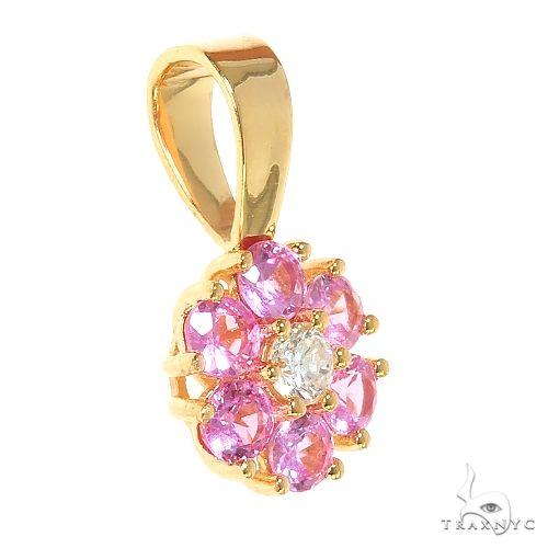 Pink Sapphire Diamond Flower Pendant 66809 Stone
