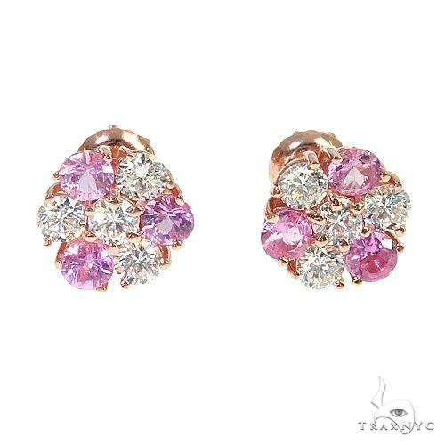 Pink VVS Flower Earrings 66905 Multicolor SAPPHIRE