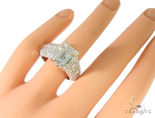Platinum Emerald Diamond Ring 61587 Anniversary/Fashion