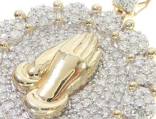 Pray Hands Diamond Round Pendant 65388 Metal