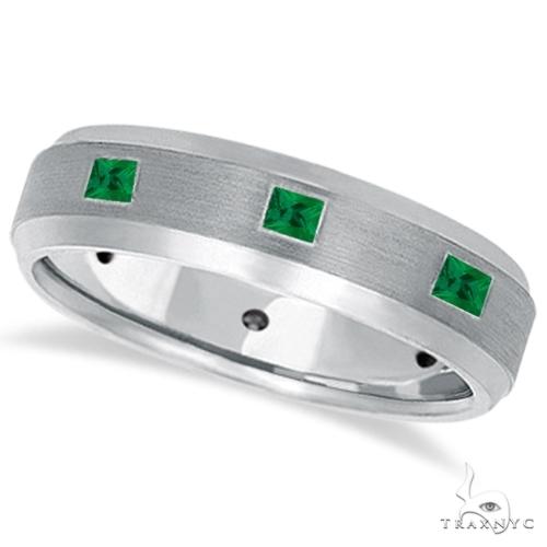 Princess-Cut Emerald Ring for Men Wedding Band 14k White Gold Stone