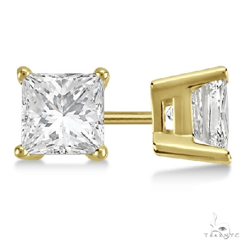 Princess Diamond Stud Earrings 1 Stone