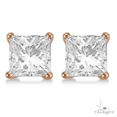 Princess Diamond Stud Earrings 1 Stone