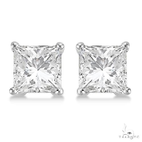 Princess Diamond Stud Earrings Palladium G-H, VS2-SI1 Stone