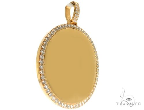14K Yellow Gold Customizable Photo Pendant 2.5 inches 64680 Metal
