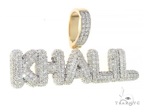 Special Custom Yellow Gold Ice Out Diamonds Name Khali Pendant Metal