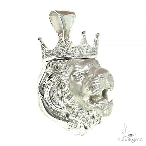 .925 Silver Diamond Lion Head Pendant Metal