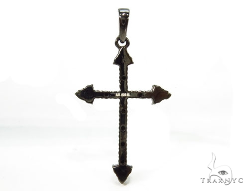 Prong Black Diamond Cross 37220 Silver