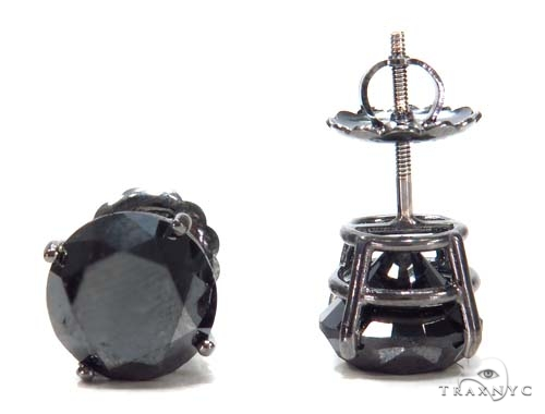 Prong Black Diamond Earrings 43159 Stone
